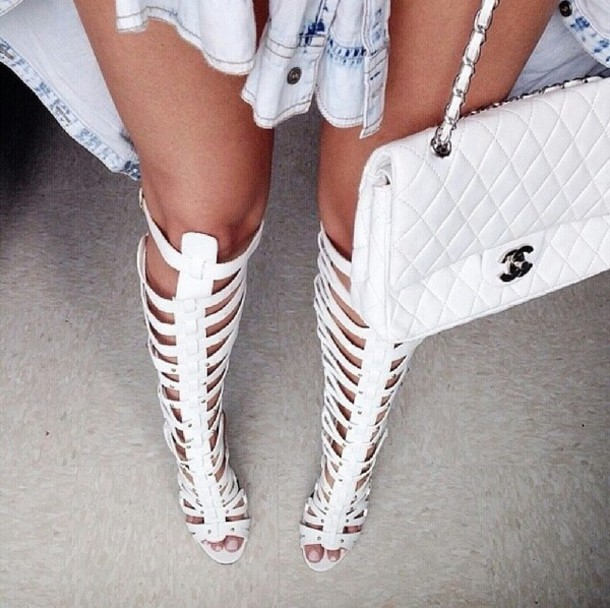 Shoes: bag, white, knee high, gladiators, heels, thigh highs ...
