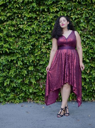 girl with curves blogger curvy sandals glitter dress holiday dress plus size dress asymmetrical asymmetrical dress purple dress purple sandal heels high heel sandals black sandals plus size plus size bridesmaid plus size bridesmaid dress plus size prom dress