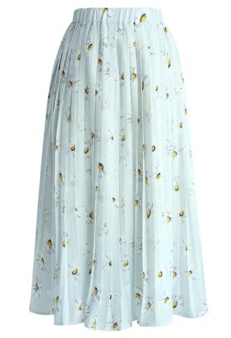 skirt chicwish soft daisy pleated skirt oleated skirt spring skirt blue skirt long skirt pleated skirt chicwish.com