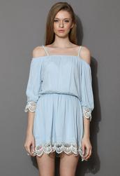 dress,thira,blue,off the shoulder,crochet,hem