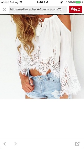 top lace cute pretty top crochet casual top white lace top lace bralette summer top crochet dress long sleeve casual top white top