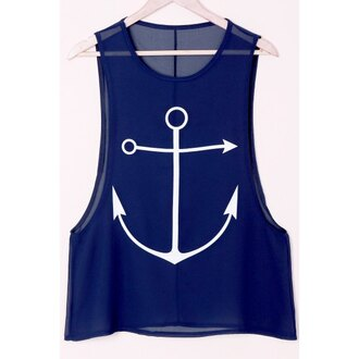 top blue sailor anchor cool summer beach spring casuak basic trendsgal.com
