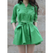 Green button up shirt dress with removable belt