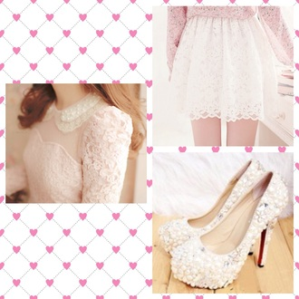 skirt lace skirt white and pink pink blouse ulzzang pearls heels white heels high heels shoes