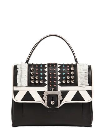 studded bag leather bag leather white black