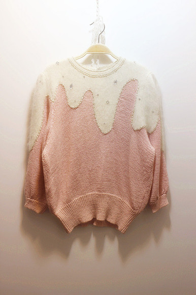 strass paillettes l sweater pink white ice cream tumblr