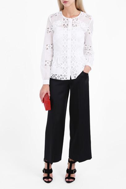 oscar de la renta blouse women lace white top