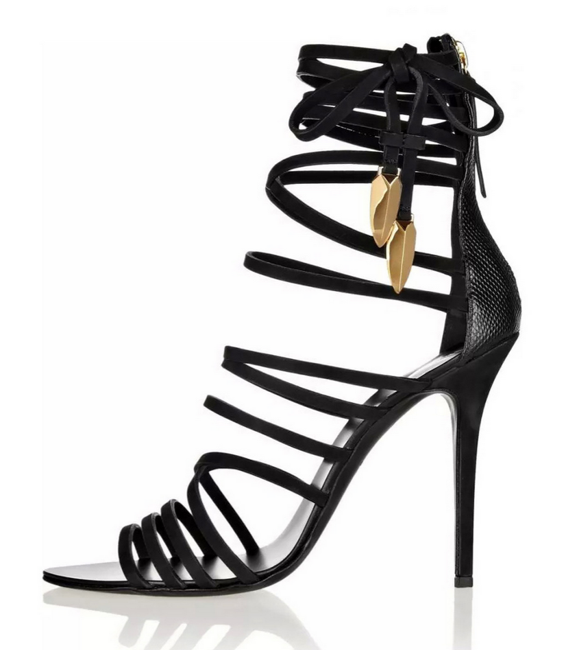 Black Strappy Gladiator Heels