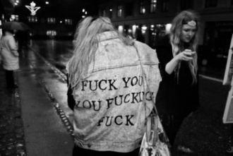 denim denim jacket jacket bitch cool funny message quote on it whore coat black and white indie grunge swag pale tumblr swag jacket