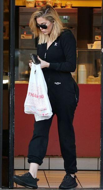 jumpsuit all black everything khloe kardashian sneakers black sweatpants sweatshirt