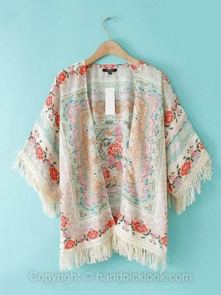 kimono cardigan fringe kimono floral kimono fringe pink white cream beige floral mint green