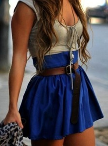 dress blue skirt belt tie pretty blue skirt low cut top summer fall spring belted skirt belted dress gorgeous