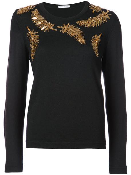 oscar de la renta sweater women embellished beaded black wool