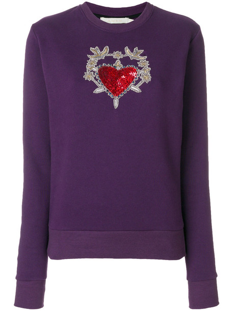 sweater metal embroidered women embellished cotton purple pink