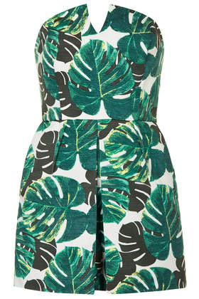 Petite Palm Bandeau Skort Playsuit - Topshop USA