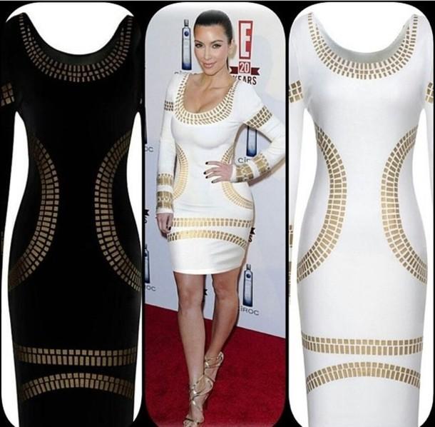 Dress: white dress, kim kardashian, gold - Wheretoget