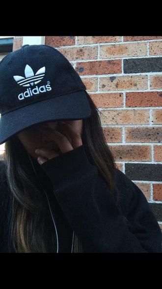 hat black adidas tumblr