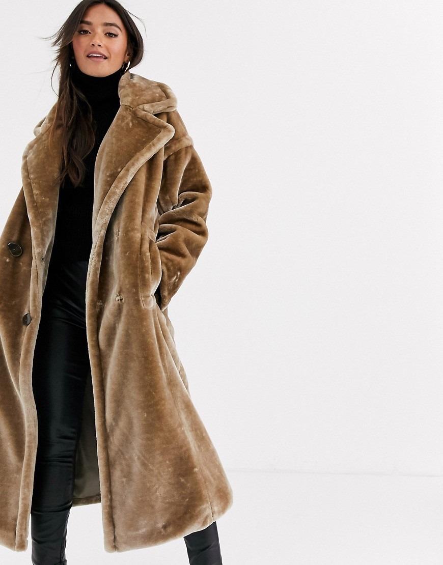 ASOS DESIGN plush faux fur maxi coat with seam detailing