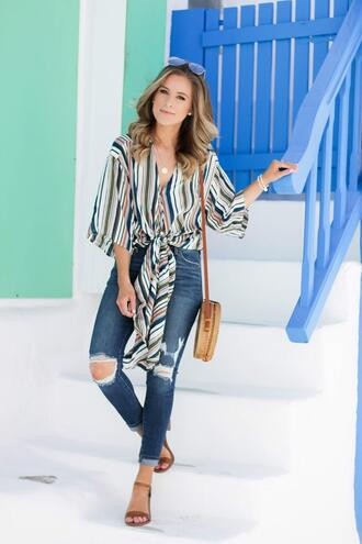thedaintydarling blogger top jeans shoes bag round bag shirt sandals striped shirt