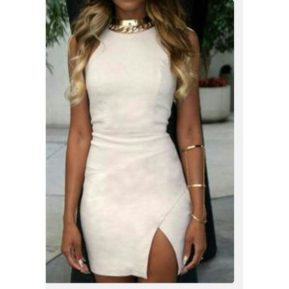 white slits dress white dress seude slit dress slit skirt jewels
