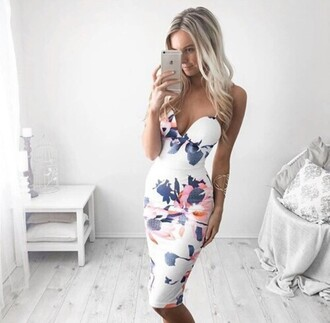 dress white flowers summer beautiful te floral midi dress sleeveless bodycon dress pencil skirt