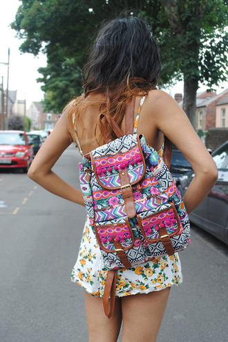 bag aztec tribal pattern indian colorful multicolor backpack dress aztec bag floral pink blue yellow flowers rucksack floral dress woven backpack