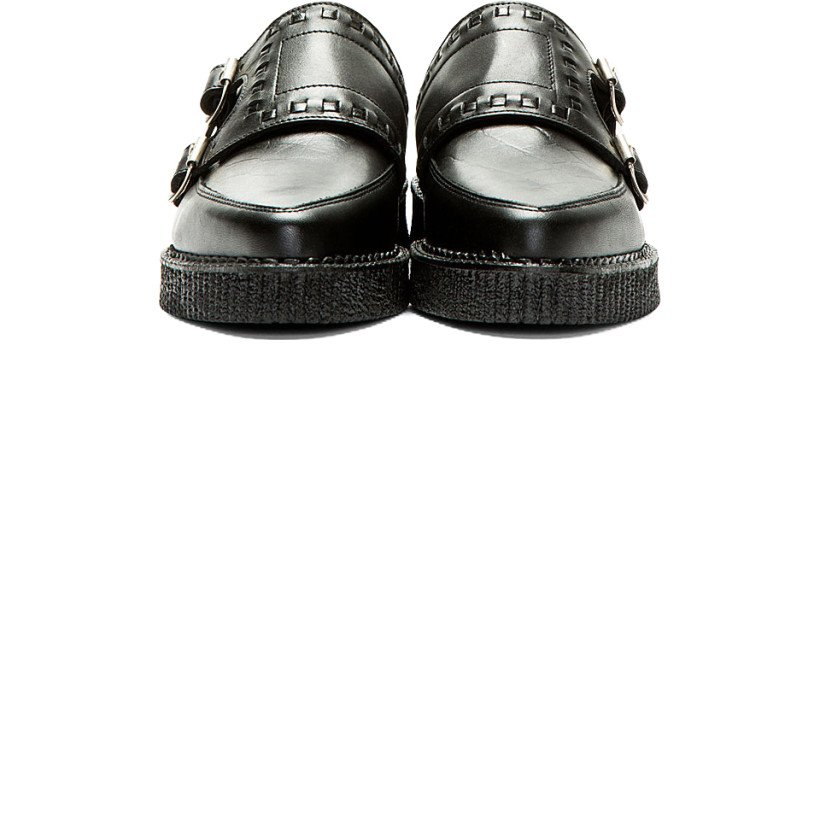 Underground - Black Leather Monk Strap Creepers | SSENSE