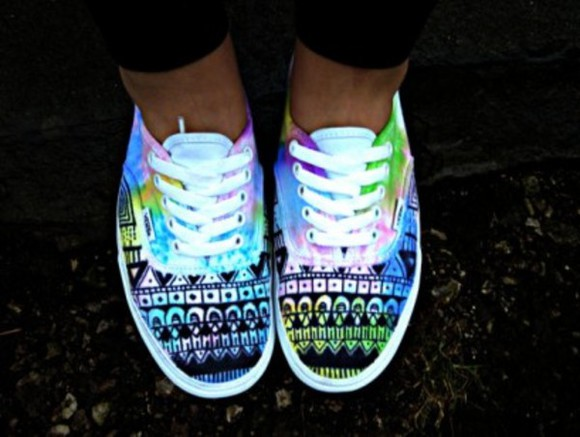 neon shoes vans tribal pattern sneakers