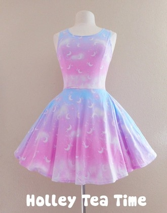 dress pastel ombrre moon kawaii cute