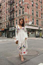 dress,midi dress,floral dress,mid heel sandals,crossbody bag,necklace,v neck