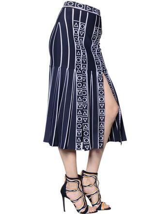 skirt midi skirt pleated knit midi white blue