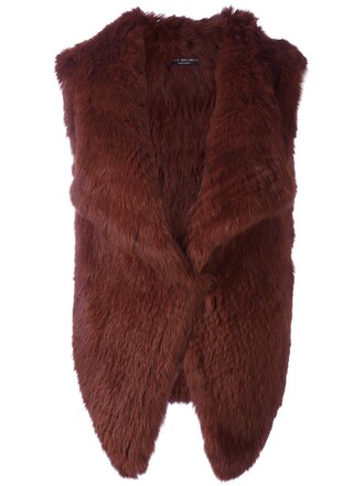 jacket fur jacket sleeveless open fur red