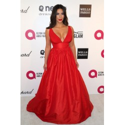 Kim Kardashian Hot Red V-neck Celebrity Evening Dress 2014 Elton John's Oscars party