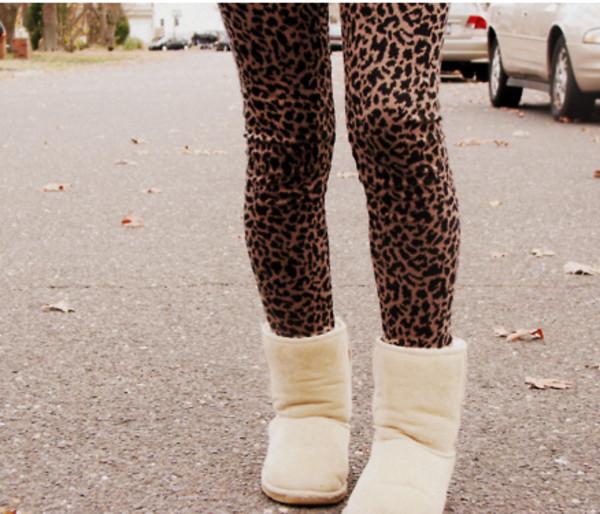 pants leggings leopard print shoes