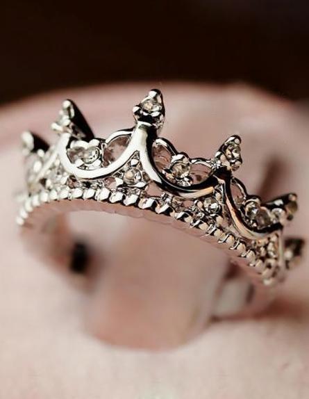 Silver Diamond Imperial Crown Ring - Sheinside.com