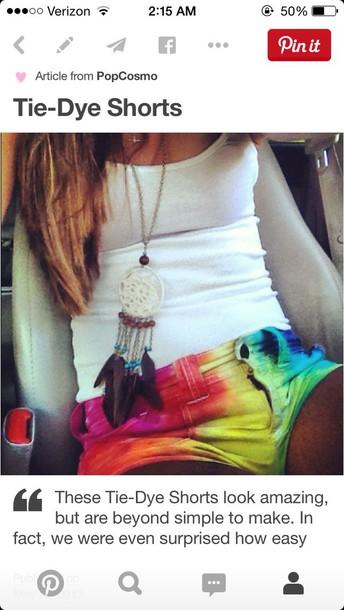 shorts tie dye shorts jewels