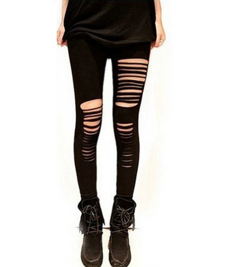 Sexy Black Cotton Hole Slim Leggings from yourfashionsandcute on Storenvy