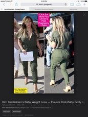 jumpsuit,khaki green,kim kardashian