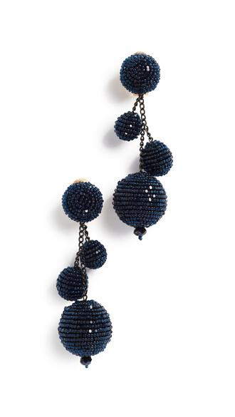 ball beaded triple earrings navy jewels