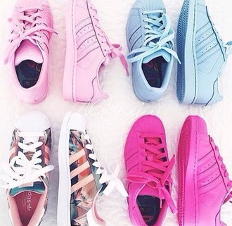 shoes pink floral blue adidas fashion cute sneakers summer superstar adidas superstars adidas shoes rose baby blue adidas.com adidas supercolor causal shoes adidas originals