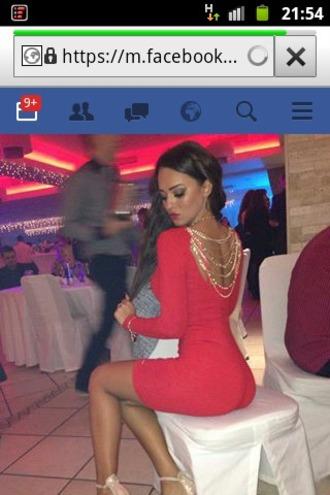 dress red dress bodycon dress backless dress chain dress chain back dress bandage dress