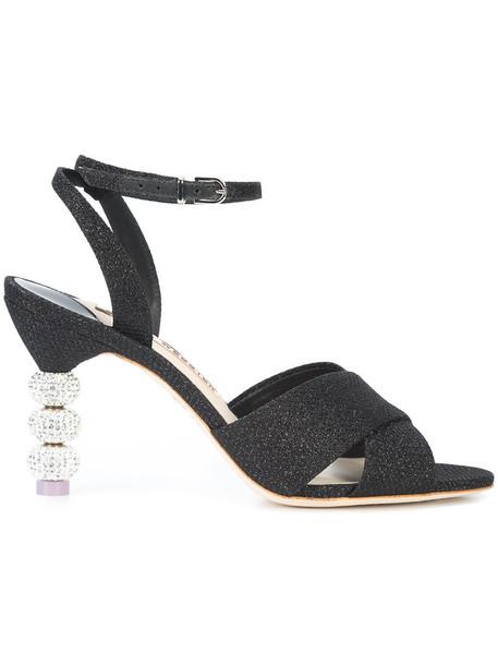 Sophia Webster heel glitter women sandals leather black shoes