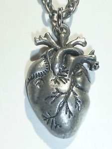 NEW Punk Gothic Human Anatomical Heart Small Pendant Necklace Silver | eBay