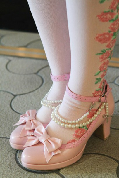 shoes lolita shoes pink shoes cute pink shoes pearls pink shoes bows