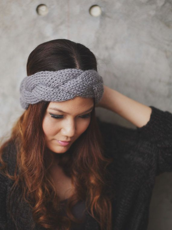 Braided - Grey, 100 Percent wool yarn Knit Headband, Head Warmer, Ear…
