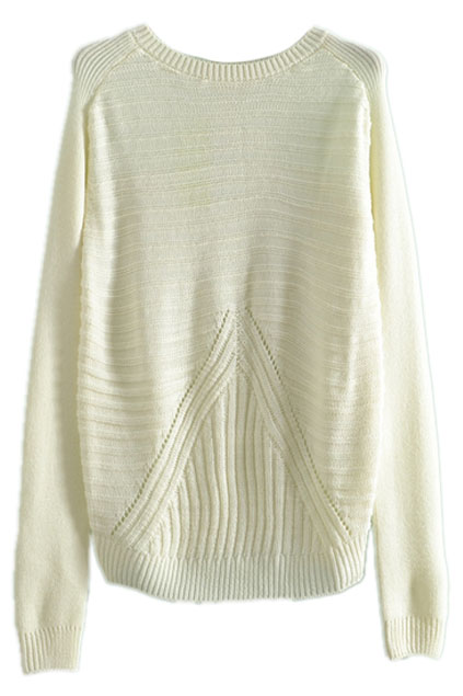 ROMWE | Asymmetric Striped Loose White Jumper, The Latest Street Fashion