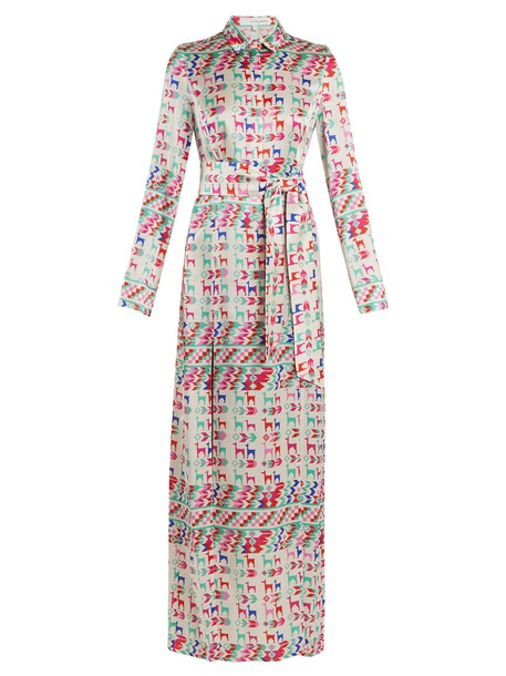 Galvan shirtdress print silk satin white dress