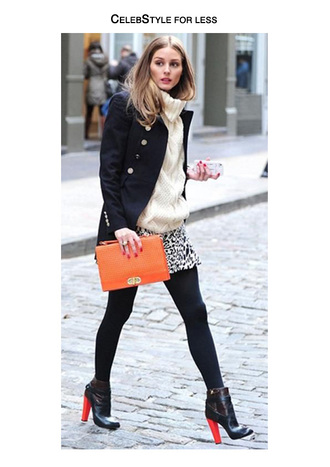 celebstyle for less olivia palermo coat turtleneck knitted sweater leopard print skirt clutch orange ankle boots fall outfits bag jewels nail polish