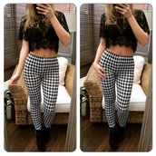 pants,dogtooth leggings,leggings,dogtooth print,skinny pants,style,fashion,trendy,high waisted pants,high waisted leggings,top,lace top,crochet top,crop tops,lace,crochet crop top,crochet,black,fitted trousers,striped trousers,black and white,casual