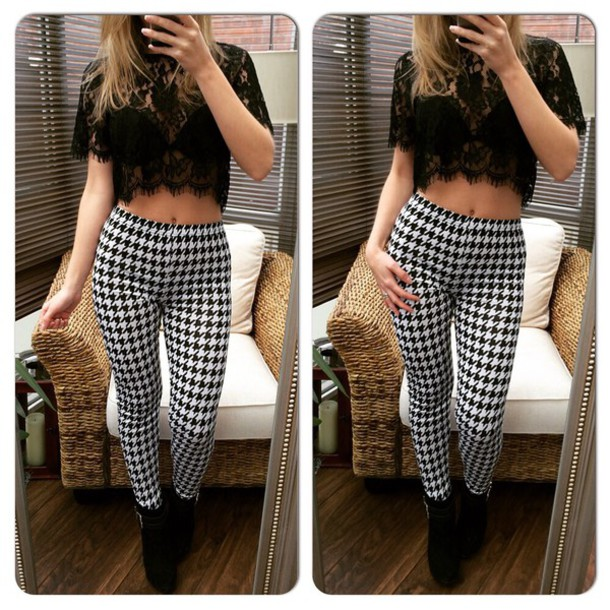 pants dogtooth leggings leggings dogtooth print skinny pants style fashion trendy high waisted pants high waisted leggings top lace top crochet top crop tops crop tops lace crochet crop top crochet black fitted trousers striped trousers black and white casual